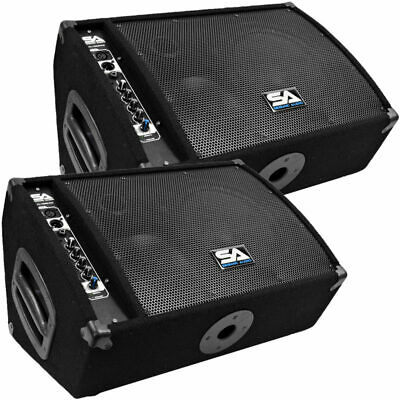"Seismic Audio Pair  Premium Powered 2-Way 10"" PA Floor Monitor w/Titanium Horns"