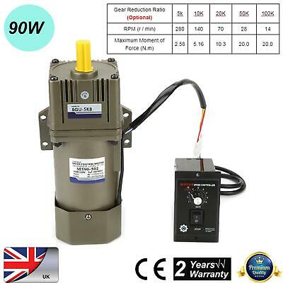 AC220V 90W Single Phase Asynchronous Adjustable Speed Gear Motor Metal 4 Poles