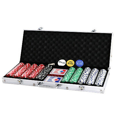 500 Chips Poker Chip Set 11.5 Gram Holdem Cards Game W/Aluminum Case & Dices