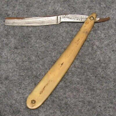"Frederick Reynolds Sheffield 6"" Straight Razor Bowie Era Real Bone Handles RUSTY"