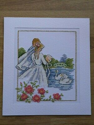 Completed Cross Stitch Card - Wedding Day - Bride & Groom
