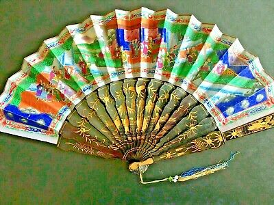 19Th Century China Chinese Canton Hundred Faces Lacquer Paper Fan 古董扇