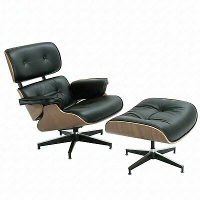 Classic Eames Lounge Chair & Ottoman 100% Grain Ltalian Black Leather Walnut USA