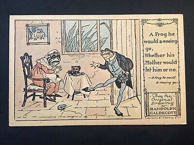 Vintage Postcard DRAWING BY RANDOLPH CALDECOTT Frog Go Wooing 1974 Repro of 1916