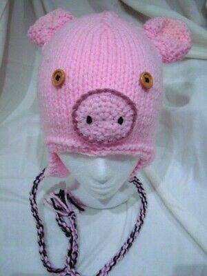 Pig earflap hat handmade knit unisex adult chunky pink acrylic easycare gift