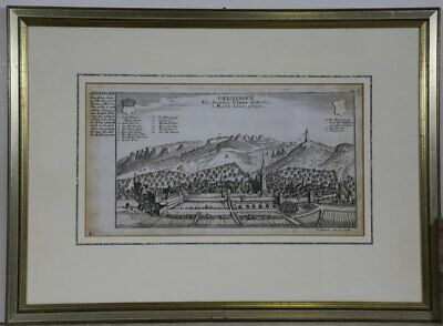 Geislingen (Württemberg) Copperplate by Bodenehr, 1720. Framed