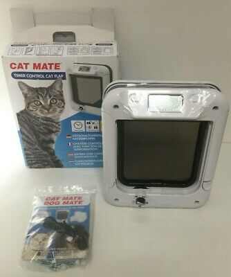 Cat Mate 359W Timer Control Cat Flap Pet Door 5 Way White Lockable Entry K43