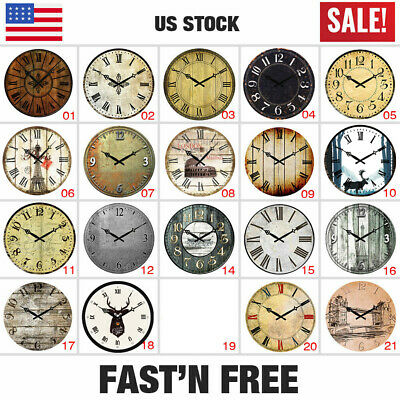 """Wooden Rustic Wall Clock 38cm Diameter 15"""" Shabby Chic Kitchen Living Room Home"""