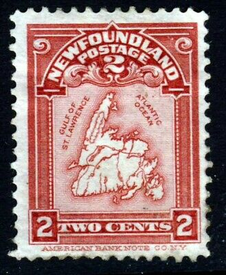 NEWFOUNDLAND CANADA 1908 Two Cents Lake Map of Newfoundland SG 94 MINT