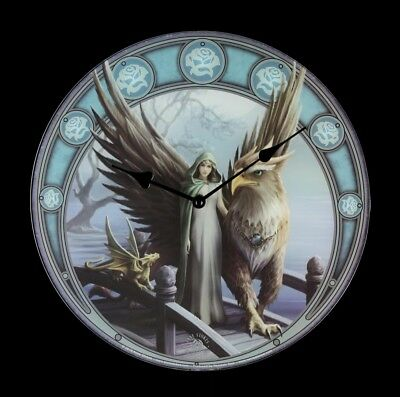 Glass Wall Clock Griffin Realm of Tranquility Anne Stokes Fantasy Decoration