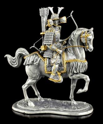 Japanese Samurai with Horse and Bow Pewter Figure Veronese Warrior Statue