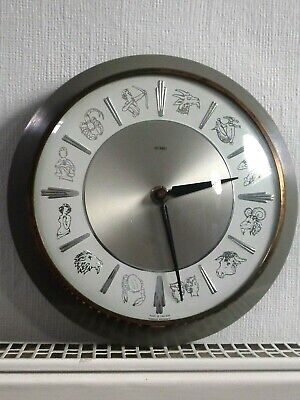 60s/70s ZODIAC WALL CLOCK, Vintage METAMEC & KIENZLE QUARTZ, Retro GREY KITCHEN