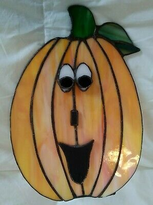 Leaded Stained Glass Jack-O-Lantern Candle Holder ~ Halloween ~ Artist Made
