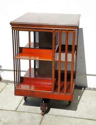 Good quality, large Victorian Mahogany 2 tier revolving bookcase VGC