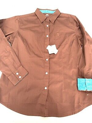 5fa464a4 NWT WRANGLER Western George Strait For Her Button Down L/S Shirt LG Brown  Turq