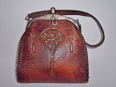 Antique JEMCO Purse Arts Crafts Era Hand Tooled Leather Excellent