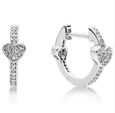 Sterling Silver Earring Alluring Hearts With Crystal Studs Earring For Women