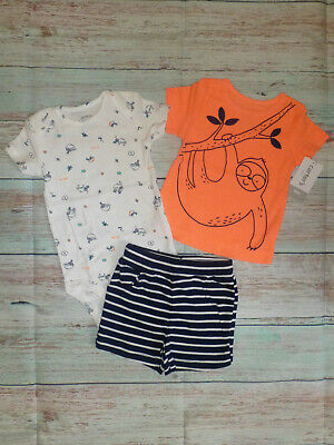 NWT Carters Baby Boys Sloth Bodysuit Shirt Shorts Little Character Outfit Set