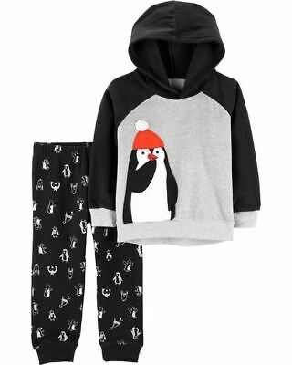NWT Carters Baby Boys Penguin Fleece Hoodie Sweater Pants Outfit Set
