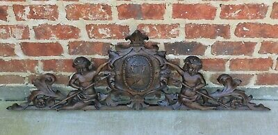 "Antique French Architectural Pediment Hanging Crown CHERUBS Carved Oak 47"" Wide"