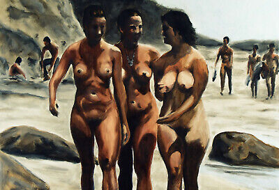 Limited edition Signed Print from Original oil painting. figures female beach