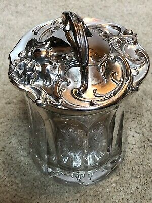 art nouveau Glass & Silverplate Humidor All Intact! Gorgeous!