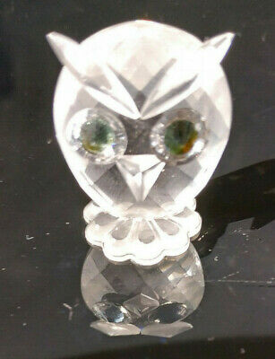 Small swarovski owl with green eyes cut glass ornament collectable retired