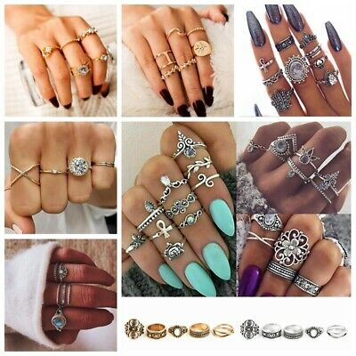 Gold Silver Ring Set Above Knuckle Stacking Band Midi Lot Styles Rings Boho Gift
