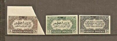 Pakistan Sg 52/4 Error 1949 Imperf Set Mnh. Only 1 Sheet Of 80 Discovered
