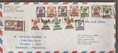 PAKISTAN FDC KGVI SG 1 to 13 USED ON FIRST DAY OF ISSUE FROM KARACHI TO USA.