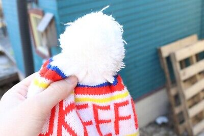 Vintage Okeefes Beer Pom Beanie Knit Hat Cap Winter Touque Store Car Truck