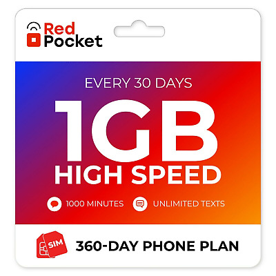 $8.25/Mo Red Pocket Prepaid Wireless Phone Plan+Kit: 500 Talk 500 Text 500MB