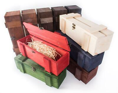 Wooden Display Wine 1 Bottle Boxes / Single Crate Gift Holder / 10 Colours