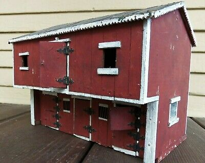 Vintage Antique Folk Art Red Barn Building Double Doors House Wood Hand Made