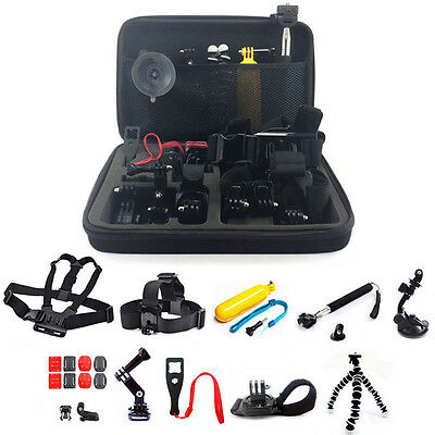 For GoPro Hero 2 3 4 5 Camera 25-in-1 Head Accessories Kit Chest Mount Monopod