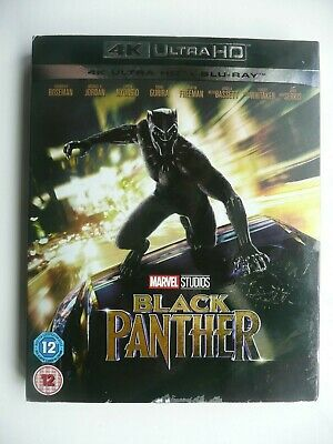 Black Panther (4K UHD Blu-ray + Blu-ray, 2018, 2-discs) Marvel, with slip cover