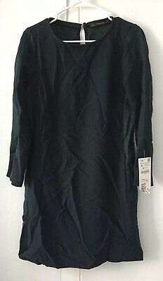7ccce62e NWT ZARA Woman Forest Green Shift Dress Satin Stripes Long Sleeve Mini Size  S