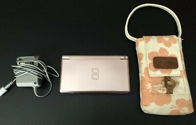 Nintendo DS Lite Metallic Rose/Pink Handheld Console + Carrying Bag + Charger
