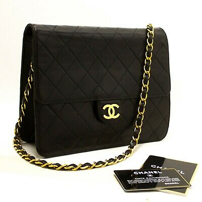 ca02431fabb98f R80 CHANEL Authentic Small Chain Shoulder Bag Clutch Black Quilted Flap  Lambskin