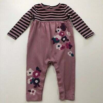 9e3eca117 TEA COLLECTION Baby Girl Pink Floral Stripe Romper Outfit Size 9-12 Months