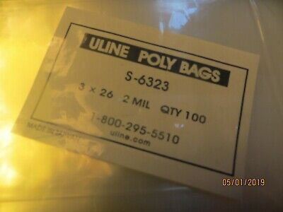 100 CLEAR POLY BAGS 3 x 26 PLASTIC OPEN TOP Uline 2 MIL - Posters / Sleeves