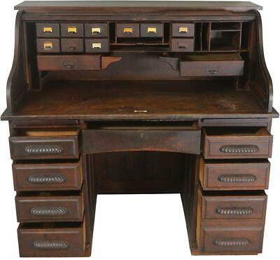 17611 Oak Roll Top Desk with Carved Handles