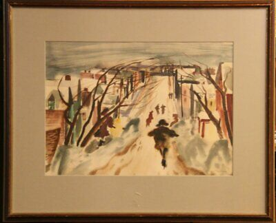 Impressionist Landscape with Houses, People and Bäumen. Watercolour on Krä