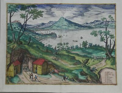 Naples Napoli Old Coloured Etching from Braun Hogenberg 1578
