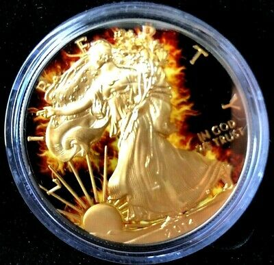 2014 1oz Silver .999 Burning Liberty coin w/ Ruthenium, Mintage 1000, 1st issue