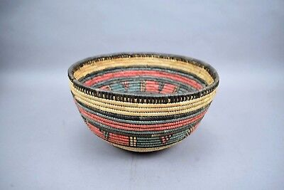 Nigerian Hausa Woven Basket Bowl Large Celestina G Signed Red Blue Zulu