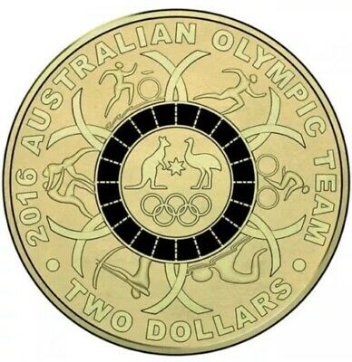 2016 Olympic $2 Coin Australian Two Dollars ### Black ## Ex Bag Uncirculated Unc