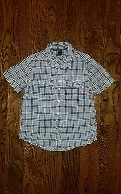 Baby Gap Toddler Boys Button down Checkered short sleeve shirt size 4 years