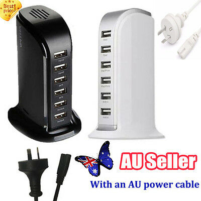 30W 6A 6 Port Desktop USB Rapid Charger Station Wall HUB Charging Power Cable PP