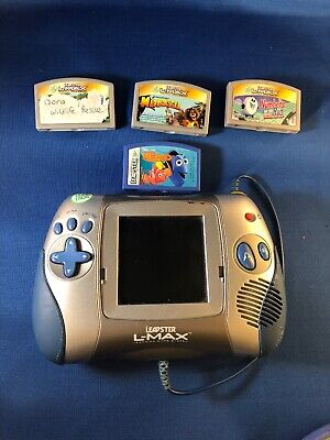 Leap Frog Leapster L-Max Handheld Game System Silver and Blue w Games